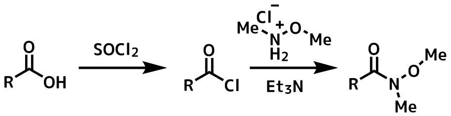 カルボン酸からワインレブアミドの合成法
