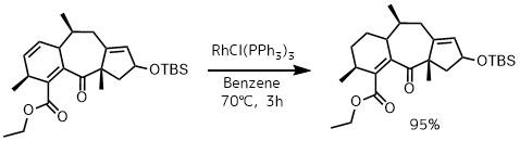ウィルキンソン触媒で二重結合の還元