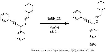NaBH3CNによるオキシムの還元