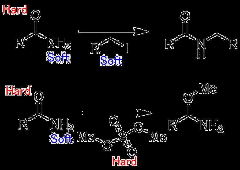 アミドのアルキル化選択性硬い酸素と軟らかい窒素