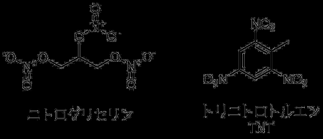 トリニトロトルエンとニトログリセリンの構造式