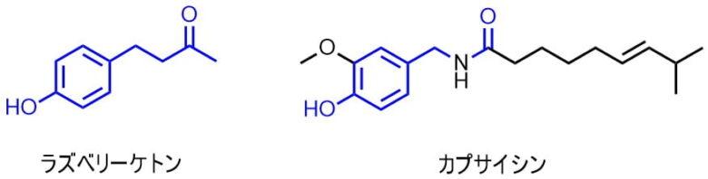 ラズベリーケトンの構造とカプサイシンの類似性