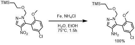 鉄と塩化アンモニウムでニトロを還元