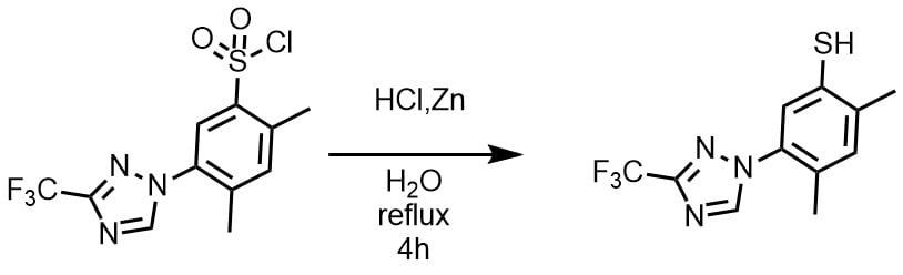 Zn+HClによるスルホニルクロライドをチオールに変換