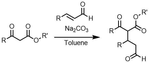 炭酸ナトリウムでマイケル付加反応