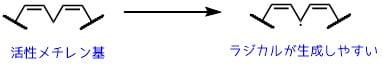 二重結合に挟まれた活性メチレン基