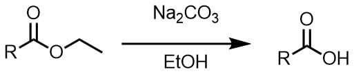 炭酸ナトリウムでエステルの分解