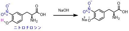 ニトロチロシンの塩基性条件での構造変化