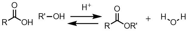 エステル化の反応式 フィッシャーエステル化