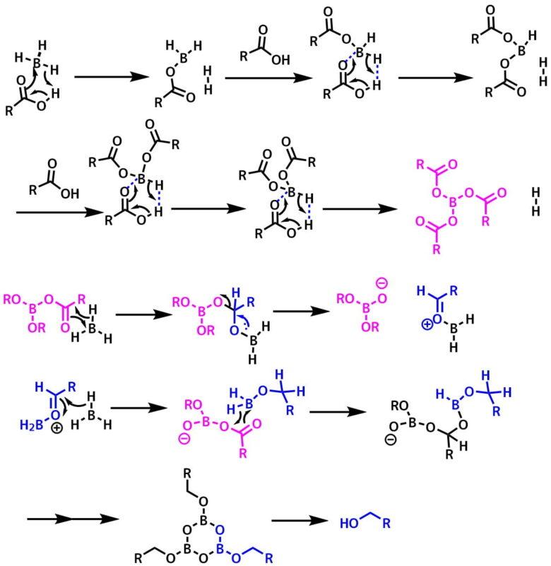 ジボランのカルボン酸の還元反応機構