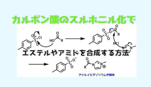 カルボン酸のスルホニル化でエステル・アミドの合成
