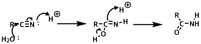 ニトリルの加水分解機構