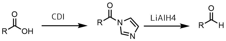 アシルイミダゾールを経由したアルデヒド合成