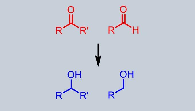 ケトンとアルデヒドからアルコールの合成