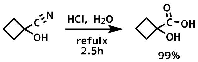 シアノヒドリンの加水分解でカルボン酸の合成