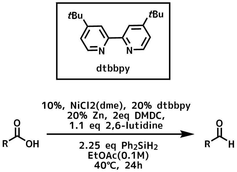 ニッケル触媒下のカルボン酸のアルデヒドの還元条件概要