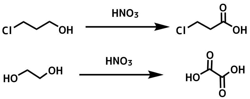 硝酸酸化による第一級アルコールの酸化