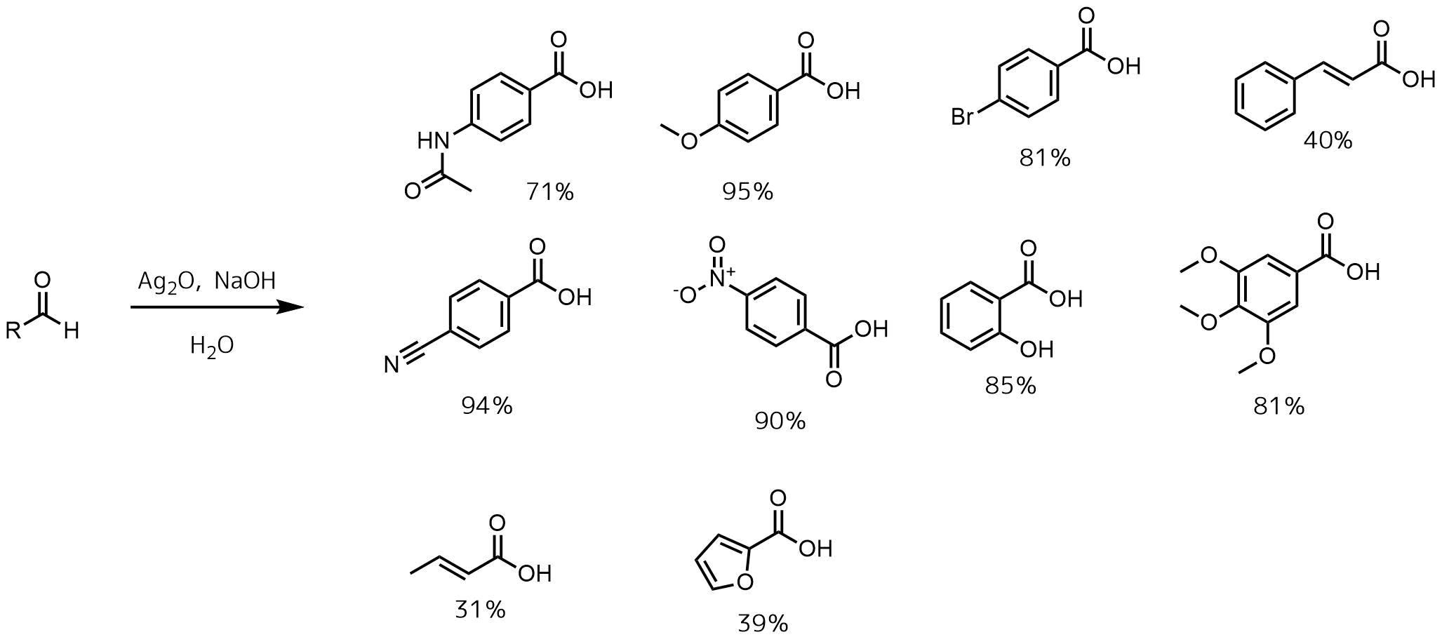 酸化銀によるアルデヒドの酸化反応