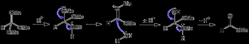 オルトエステルの加水分解機構 f