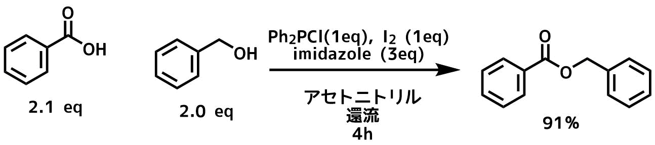 Ph2PClイミダゾールヨウ素法によるエステル化