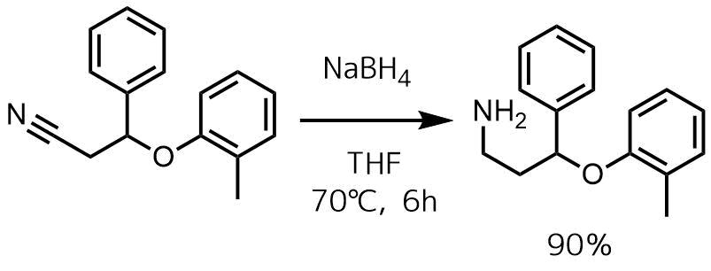 ニトリルの還元でアミンNaBH4