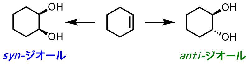 antiとsynジオールの合成