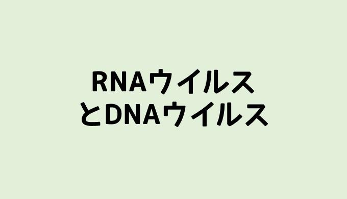 ウイルスの分類 RNAウイルスとDNAウイルス   ネットdeカガク