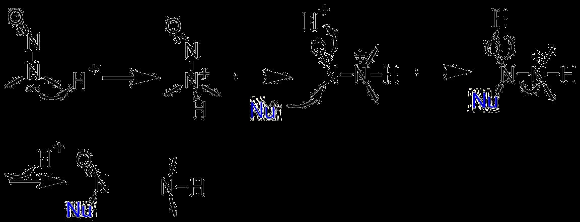 ニトロソアミンは酸性溶液中、求核試薬と反応して脱アミン化する